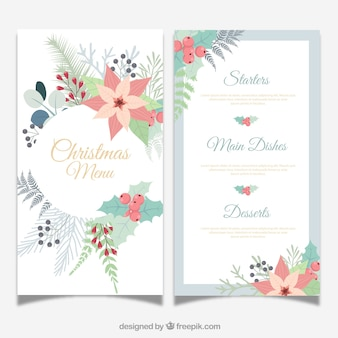 Christmas menu with flowers in vintage style