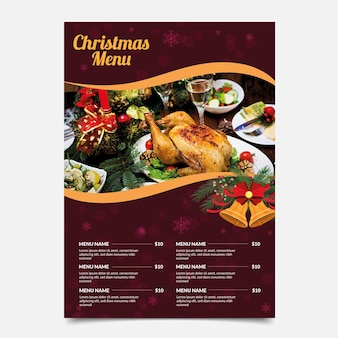 Christmas menu with food selection template