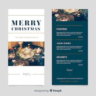 Christmas menu with photography