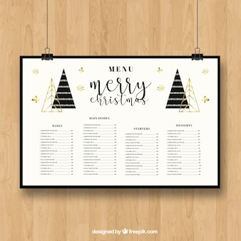 Christmas menu with pines