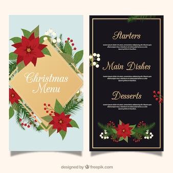 Christmas menu with poinsettias