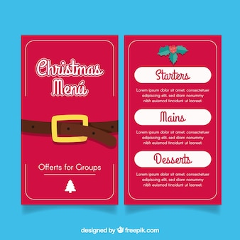 Christmas menu with santa claus belt