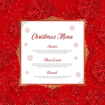 Christmas menu with snowflake design