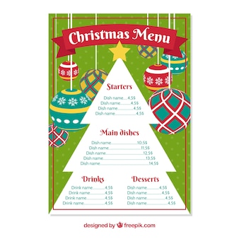 Christmas menu with tree