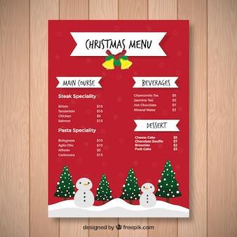 Рождественское меню с деревьями и снеговиками