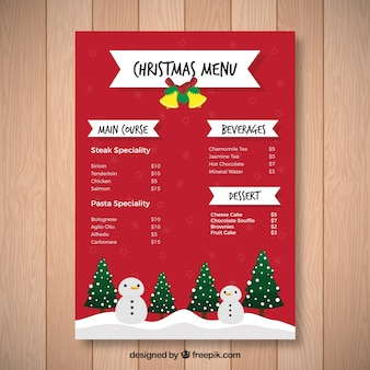 Christmas menu with trees and snowmen