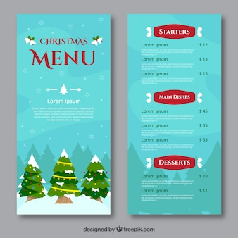 Christmas menu with trees