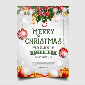 Christmas merry brochure with christmas ornaments