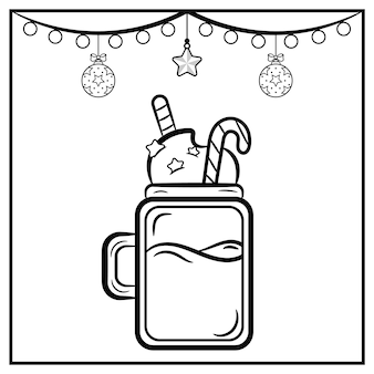 着色のための飾りとクリスマスミルクセーキスケッチ