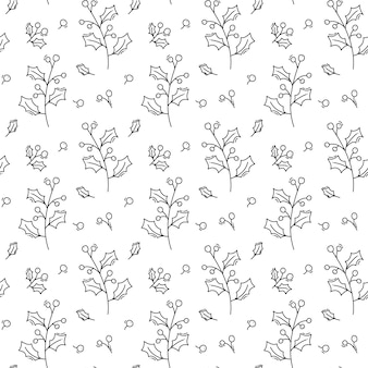 Christmas minimalist monoline scandinavian seamless pattern new year fir tree