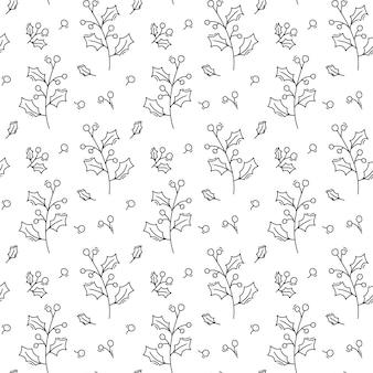 크리스마스 미니 멀 모노 라인 스칸디나비아 원활한 패턴 새 해 전나무 트리