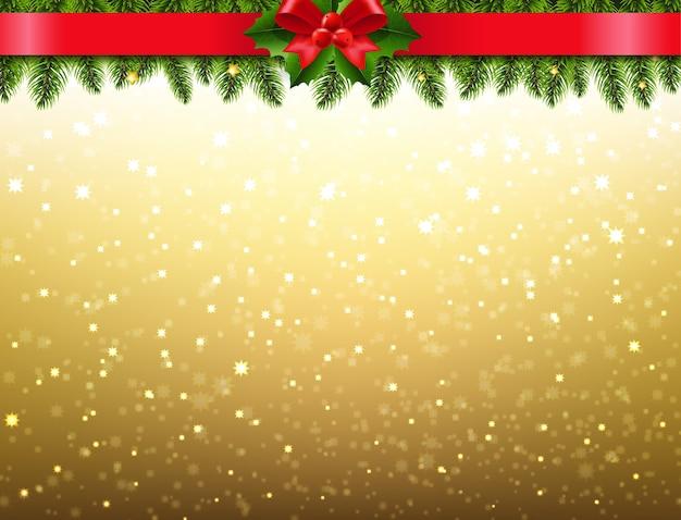 Рождественская омела и бордюр из холли берри
