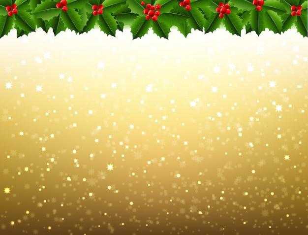 Christmas mistletoe and holly berry border