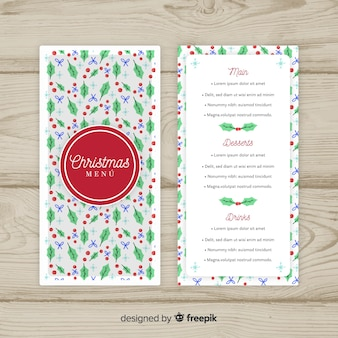 Christmas mistletoe pattern menu template