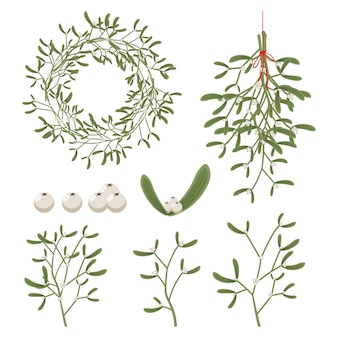 ベリー、葉、小枝、花輪、枝とクリスマスヤドリギ