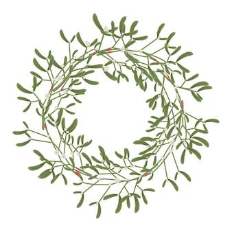 Рождественский венок из омелы. элемент украшения праздник мультфильм на белом фоне.