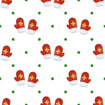 크리스마스 벙어리 장갑 원활한 패턴 겨울 휴가 선물 포장 배경 벡터 일러스트 레이 션. 크리스마스 포장 벽지 축제 종이 또는 직물.