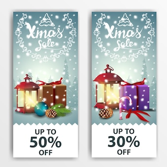Christmas modern banner with 50% and 30% sale
