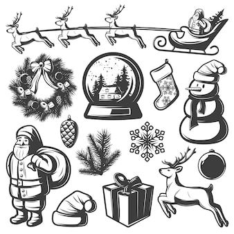 Christmas monochrome elements set