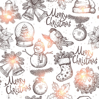 Christmas monochrome seamless pattern with sketch objects
