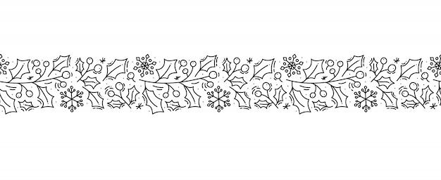 크리스마스 모노 라인 스칸디나비아 원활한 패턴 장식