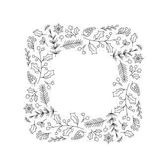 Christmas monoline vector wreath frame with cone branches, snowflakes and berries