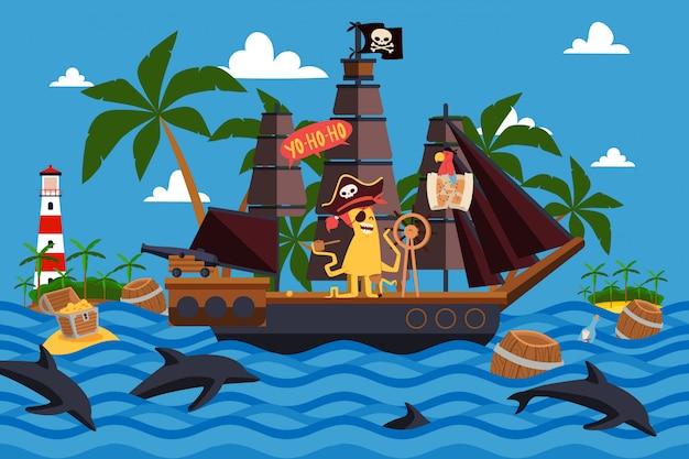 Christmas monsters on a pirate ship  illustration. one-eyed ship captain with tentacles stand at helm. character monster