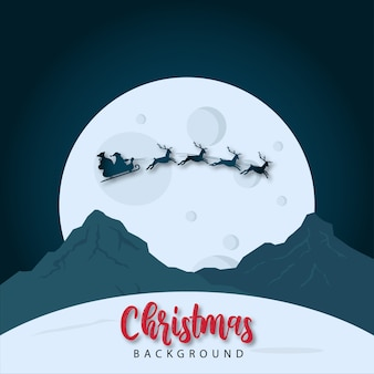 Christmas and moon landscape