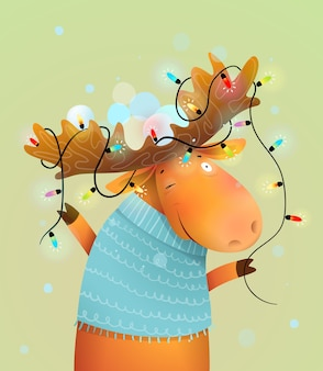 Christmas moose or reindeer with lights on antlers decorated for merry holiday. kids and nursery winter animal illustration, cartoon in watercolor style.