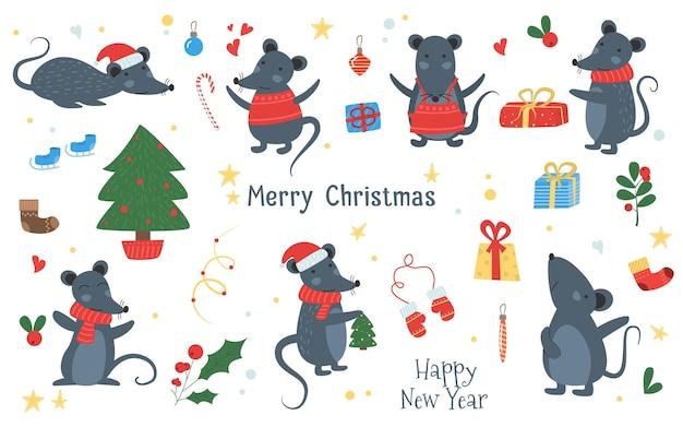 クリスマスマウス、チーズ、帽子、スカーフ、ギフト、ハート、弓。冬のかわいいベクトル動物のイラスト。 2020年の旧正月のシンボル。マウス、ラットの星占い。サンタの帽子、モミ、ギフト、花輪と手描きのマウス。