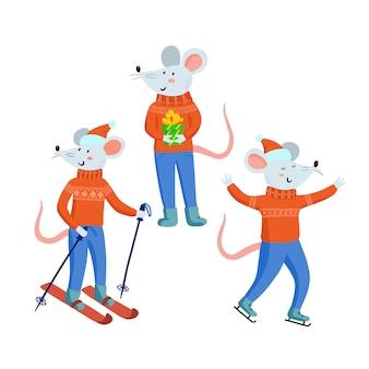 크리스마스 마우스는 흰색 배경에 격리됨을 설정합니다. 크리스마스 옷을 입은 귀여운 쥐와 선물, 쥐는 겨울 게임, 스키, 아이스 스케이팅을 합니다. 중국 2020년 새해 상징, 벡터 일러스트레이션