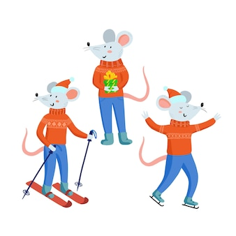 Christmas mouse set isolated on white background. cute mice in christmas clothes with gifts, rats play winter games, skiing, ice skating.collection of chinese 2020 new year symbol, vector illustration