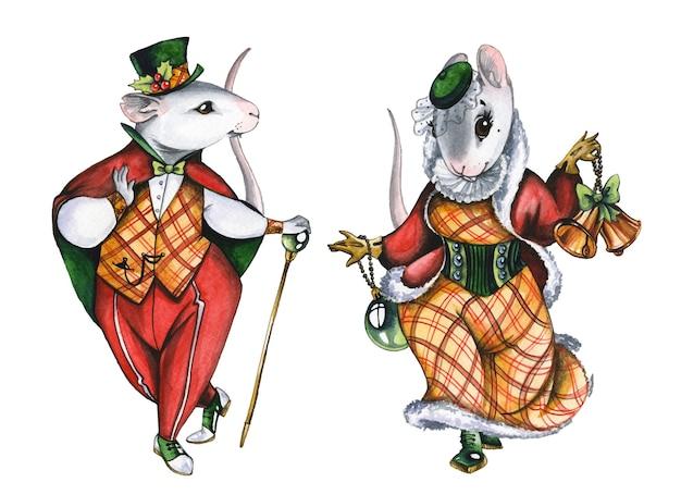 크리스마스 마우스 커플 손으로 그린 수채화 그림. 흰색 바탕에 카니발 의상에서 멋진 mousekids 쌍. 남성과 여성의 옷을 입은 동화 동물 수채 화법 그림