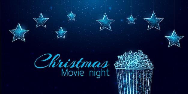 크리스마스 영화 밤 배너입니다. 와이어프레임 별과 조명 광고판, 낮은 폴리 스타일.