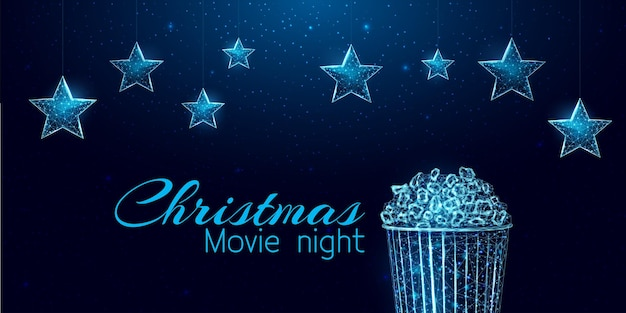 Christmas movie night banner. wireframe stars and light billboard, low poly style.