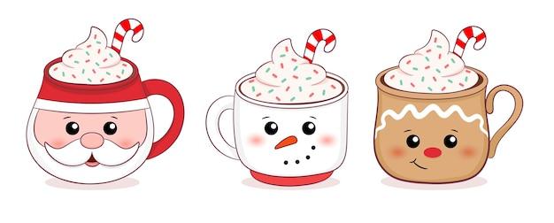 Рождественские кружки коллекции иллюстрации