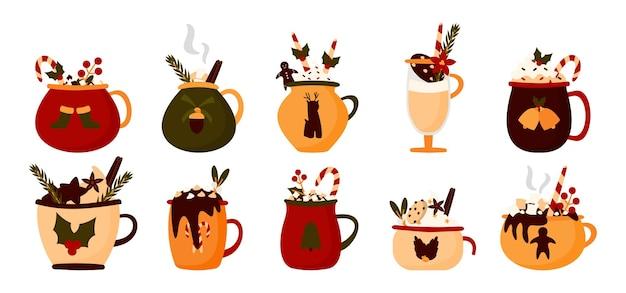 크리스마스 머그잔 음료 세트. 마시멜로, 컵 핫 초콜릿, 겨울 커피와 함께 따뜻한 휴가 코코아.