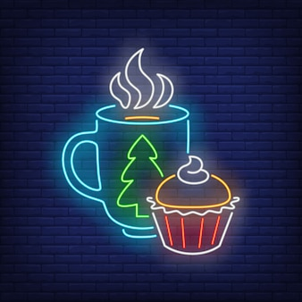 Christmas mug and muffin in neon style