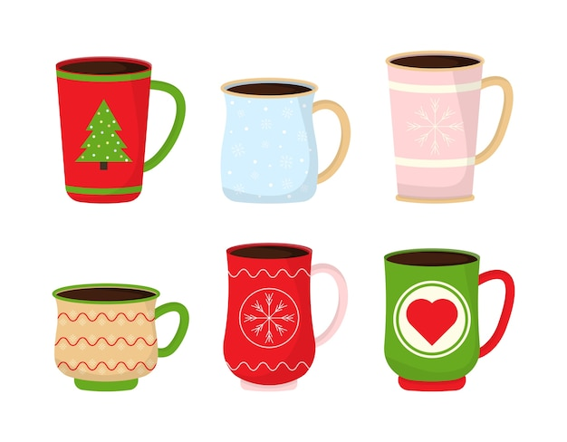 Christmas mugs with hot drink.