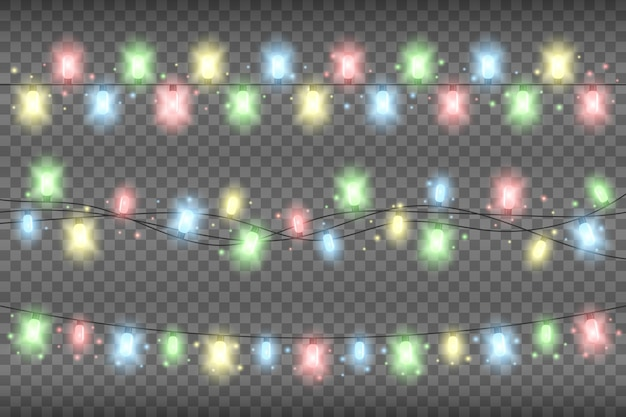 Christmas multicolored realistic garland lights on a transparent background. glowing garland lights decoration with sparkles