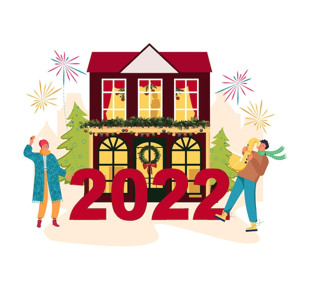 クリスマス音楽ジャズパーティー漫画ポスター人々は新年2022年のクリスマスの街の準備をしています