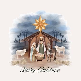 Christmas nativity of jesus in barn