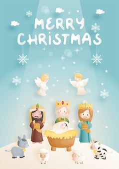 A christmas nativity scene cartoon, with baby jesus in the manger with 3 wise men, donkey and other animals. christian religious