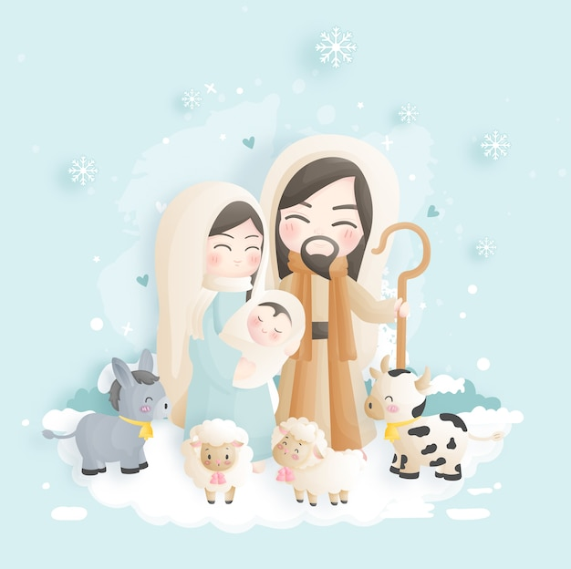A christmas nativity scene cartoon, with baby jesus, mary and joseph in the manger with donkey and other animals. christian religious illustration.