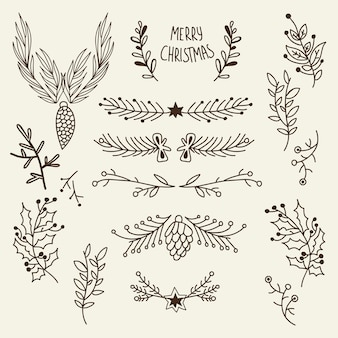Christmas natural hand drawn template with tree branches cones and holly berry on gray illustration