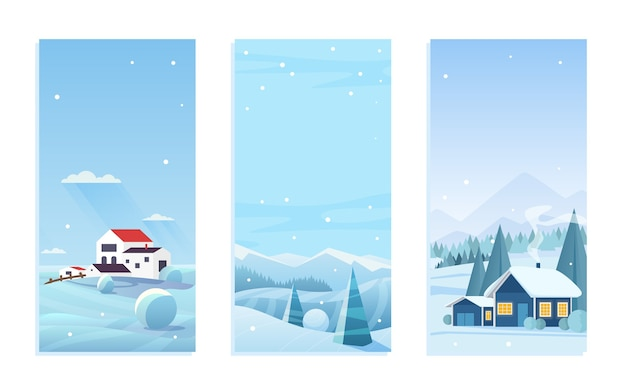 Christmas nature winter landscape set with village houses
