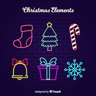 Christmas neon elements collection
