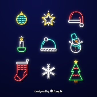 Christmas neon elements