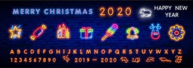 Christmas neon icon set.