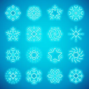 Christmas neon snowflakes